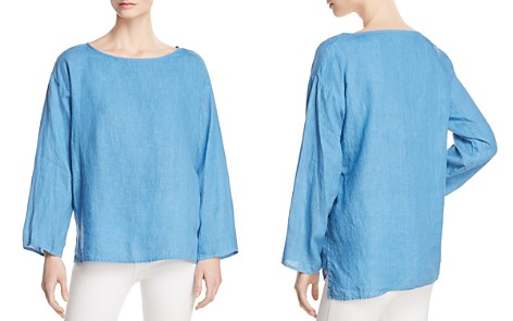 Eileen Fisher Organic Linen Boxy Top - 100% Exclusive - Bloomingdale's_2