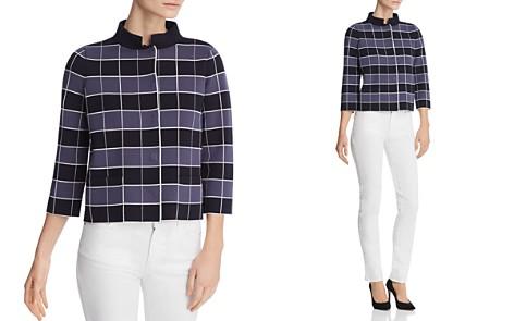 Emporio Armani Cropped Check-Print Jacket - Bloomingdale's_2