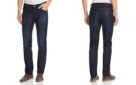 Emporio Armani Straight Fit Five Pocket Jeans in Dark Wash Blue - Bloomingdale's_2