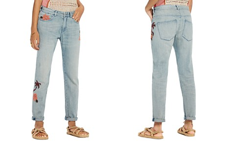 Scotch & Soda Bandit Floral Embroidered Slim Boyfriend Jeans in Blue - Bloomingdale's_2