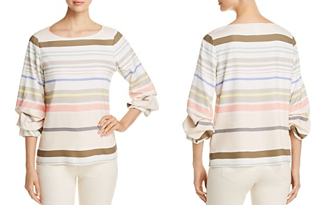 Lafayette 148 New York Winston Striped Ruche-Sleeve Blouse - Bloomingdale's_2
