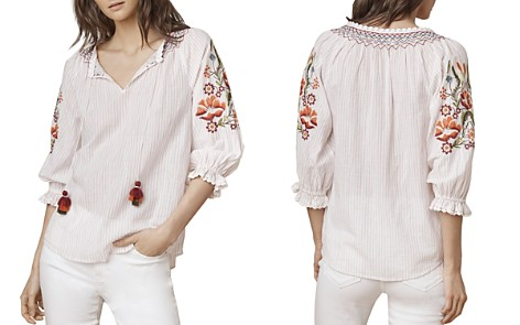 Velvet by Graham & Spencer Rina Embroidered Peasant Top - Bloomingdale's_2