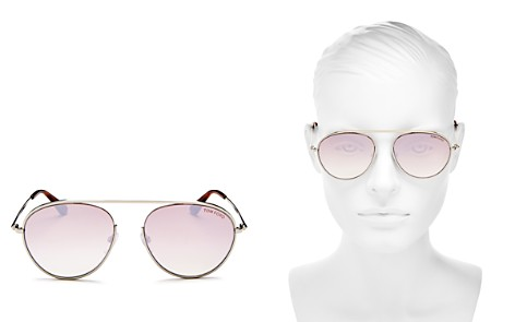 Tom Ford Keith Mirrored Brow Bar Aviator Sunglasses, 55mm - Bloomingdale's_2