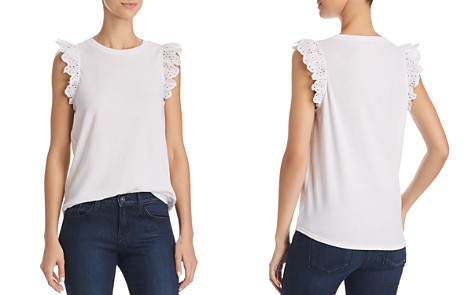 kate spade new york Eyelet-Ruffle Sleeveless Tee - Bloomingdale's_2
