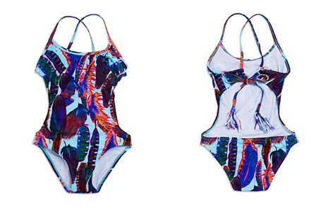 PilyQ Girls' Feather-Print Laser-Cutout Swimsuit - Little Kid, Big Kid - Bloomingdale's_2