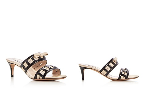Giorgio Armani Women's Bow Embellished Leather Slide Mid Heel Sandals - Bloomingdale's_2