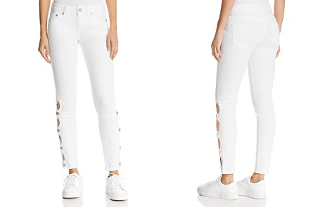 True Religion Halle Side-Snap Skinny Jeans in Optic White - Bloomingdale's_2