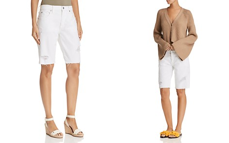 7 For All Mankind High Rise Bermuda Denim Shorts in White Fashion 4 - Bloomingdale's_2