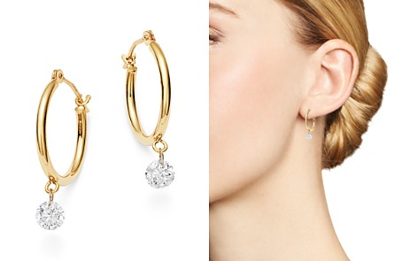 AeroDiamonds 18K Yellow Gold Solo Diamond Dangle Hoop Earrings - Bloomingdale's_2