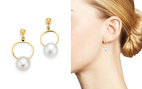Bloomingdale's Cultured Freshwater Pearl Swing Earrings in 14K Yellow Gold - 100% Exclusive _2