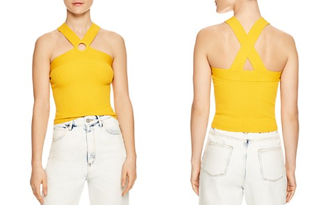 Sandro Suede Ribbed Circle-Cutout Top - Bloomingdale's_2