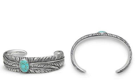 David Yurman Southwest Wide Feather Cuff Bracelet with Turquoise - Bloomingdale's_2