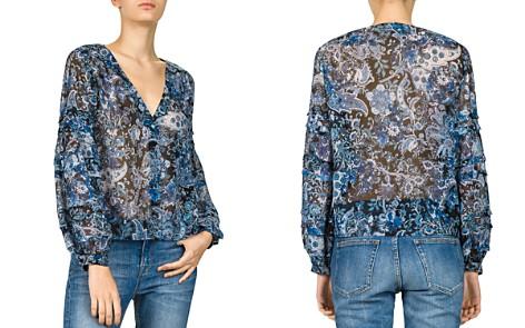 The Kooples Printed Silk V-Neck Top - Bloomingdale's_2