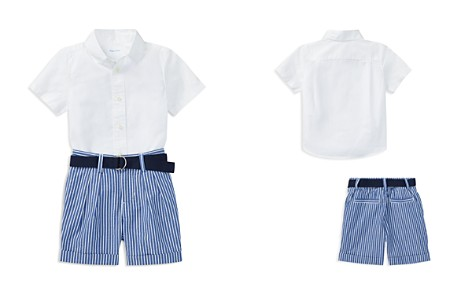 Ralph Lauren Boys' Poplin Shirt, Belt & Striped Shorts Set - Baby - Bloomingdale's_2