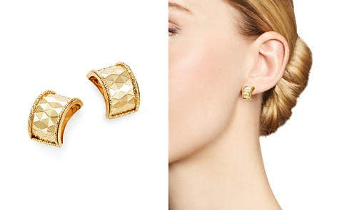 Bloomingdale's Polished Diamond-Cut Wide Huggie Earrings in 14K Yellow Gold - 100% Exclusive _2