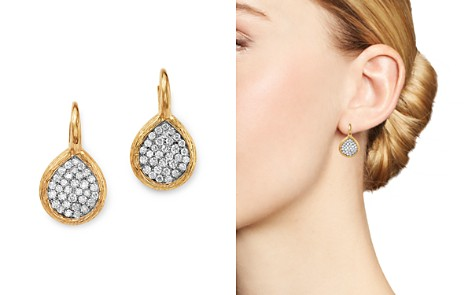 Bloomingdale's Pavé Diamond Teardrop Earrings in Textured 14K Yellow Gold, 1.05 ct. t.w. - 100% Exclusive _2