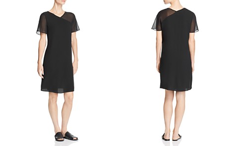 Eileen Fisher Sheer-Detail Silk V-Neck Dress - Bloomingdale's_2