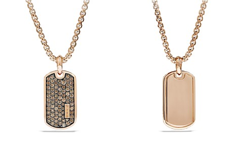 David Yurman Pavé Tag with Cognac Diamonds in 18K Rose Gold - Bloomingdale's_2