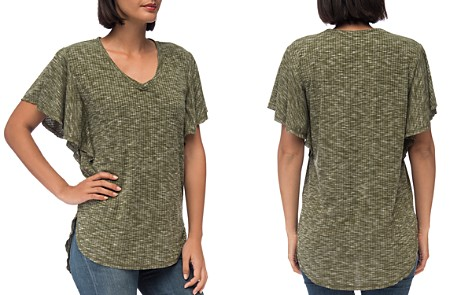 B Collection by Bobeau Mariee Flutter-Sleeve Marled Tee - Bloomingdale's_2