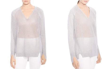 HALSTON HERITAGE V-Neck Sheer Sweater - Bloomingdale's_2