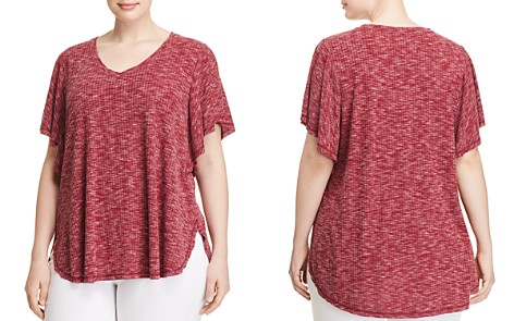 B Collection by Bobeau Curvy Mariee Ribbed Space-Dye Tee - Bloomingdale's_2