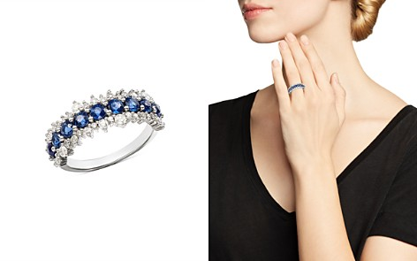 Bloomingdale's Blue Sapphire & Diamond Ring in 14K White Gold - 100% Exclusive _2