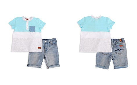 7 For All Mankind Boys' Island Paradise Henley Tee & Denim Shorts Set - Baby - Bloomingdale's_2