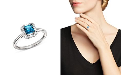 Bloomingdale's London Blue Topaz & Diamond Square Ring in 14K White Gold - 100% Exclusive _2