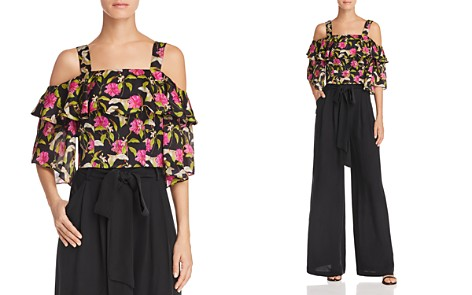 MILLY Audrey Cold-Shoulder Floral Silk Top - Bloomingdale's_2