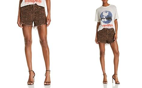 T by Alexander Wang Bite Denim Shorts in Tan Leopard - Bloomingdale's_2