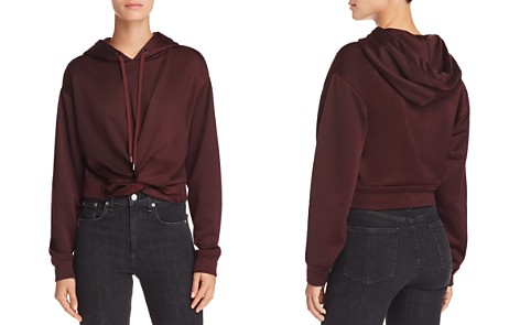 T by Alexander Wang French Terry Twist-Front Hoodie - Bloomingdale's_2