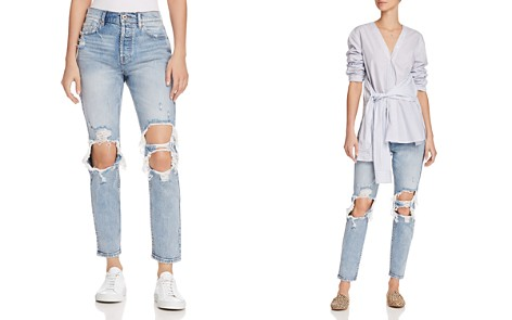 Pistola Mom High-Rise Distressed Straight-Leg Jeans in Up In Flames - Bloomingdale's_2