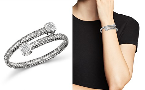 Roberto Coin 18K White Gold Primavera Diamond Capped Bypass Bangle - Bloomingdale's_2