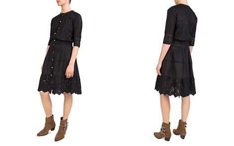The Kooples Pleated Embroidered Lace-Detail Dress - Bloomingdale's_2