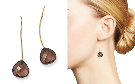 Bloomingdale's Smoky Quartz Wire Drop Earrings in 14K Yellow Gold - 100% Exclusive _2