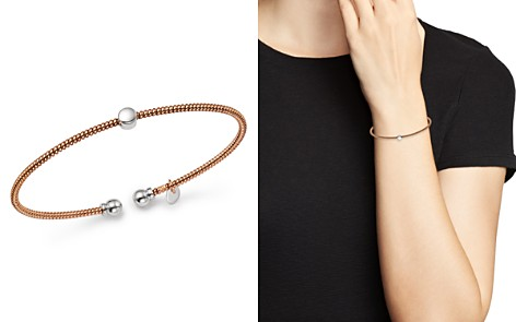 Bloomingdale's Bead Station Open Bangle in 14K White & Rose Gold - 100% Exclusive _2