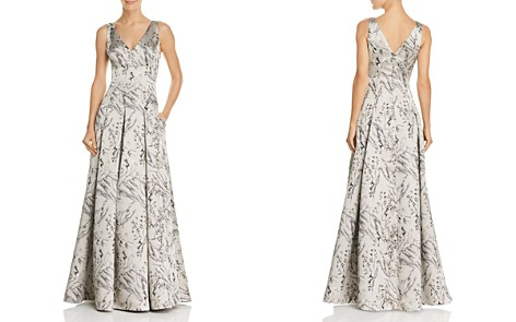 Aidan Mattox Satin Jacquard Gown - 100% Exclusive - Bloomingdale's_2