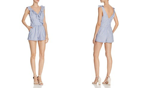 AQUA Ruffled Striped Romper - 100% Exclusive - Bloomingdale's_2