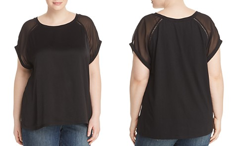 B Collection by Bobeau Curvy Isla Mixed Media Tee - Bloomingdale's_2