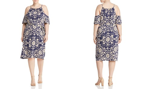 Lucky Brand Plus Cold-Shoulder Floral-Print Dress - Bloomingdale's_2