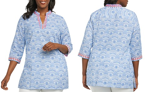Foxcroft Plus Printed Cotton Tunic - Bloomingdale's_2