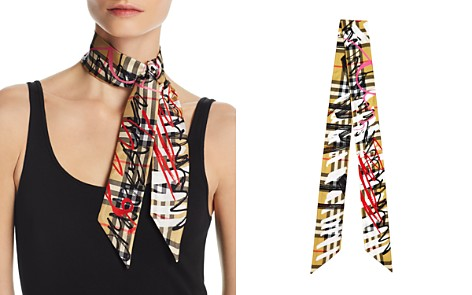 Burberry Scribble Vintage Check Silk Skinny Scarf - Bloomingdale's_2