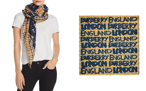 Burberry Marker Text Check Gauze Scarf - Bloomingdale's_2
