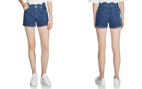 Maje Shafti Scalloped Denim Mini Shorts - Bloomingdale's_2