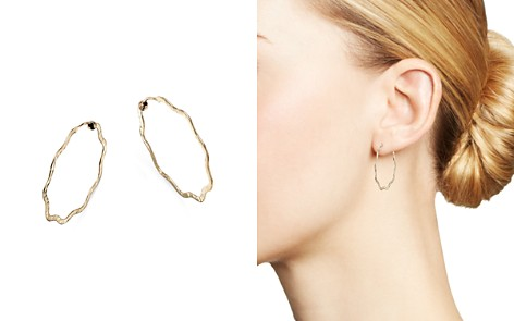 Bloomingdale's Wavy Hammered Endless Hoop Earrings in 14K Yellow Gold - 100% Exclusive_2