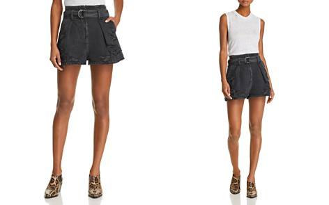 IRO.JEANS Rosa Destroyed Denim Shorts in Black Washed Gray - Bloomingdale's_2