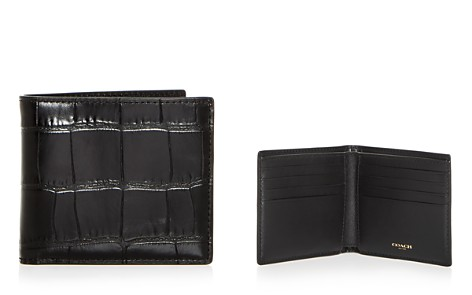 COACH Croc Embossed Leather Bi-Fold Wallet - Bloomingdale's_2