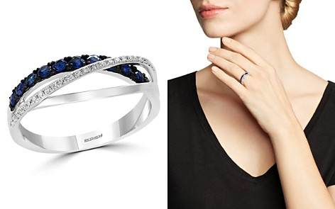 Bloomingdale's Sapphire & Diamond Crossover Ring in 14K White Gold- 100% Exclusive_2