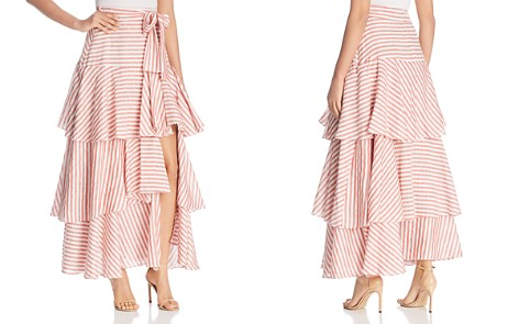 Badgley Mischka Striped Ruffle Maxi Skirt - Bloomingdale's_2