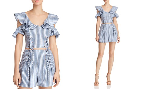 GUESS Hermosa Cold-Shoulder Lace-Up Cropped Top - Bloomingdale's_2